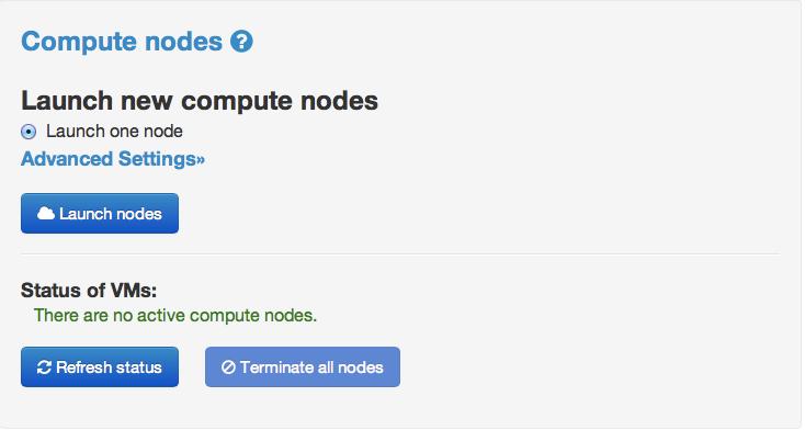 Figure 2. Cloud Computing page - Compute nodes default setting section.